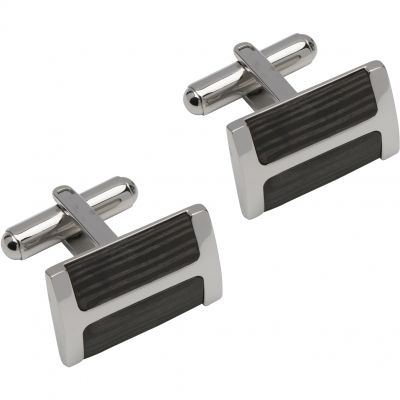 Mens Unique & Co Stainless Steel Carbon Fibre Cufflinks QC-237