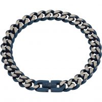 Mens Unique & Co Stainless Steel Blue IP Bracelet LAB-130/21CM