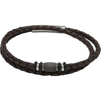 Mens Unique & Co Stainless Steel Double Wrap Bracelet B402ADB/21CM