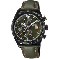 Festina  Mens Black Plated Chrono Watch