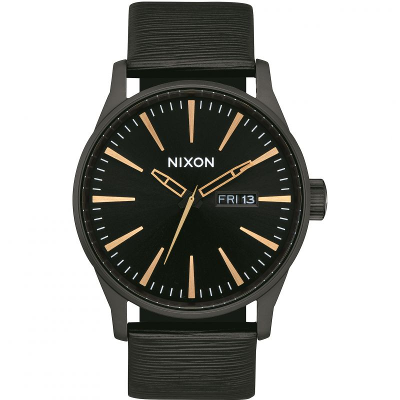 Mens Nixon Sentry Leather Watch