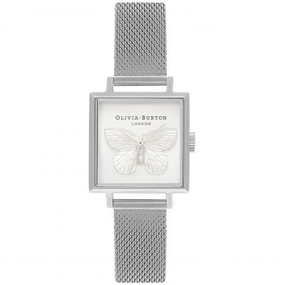 3D Butterfly Silver Mesh Watch