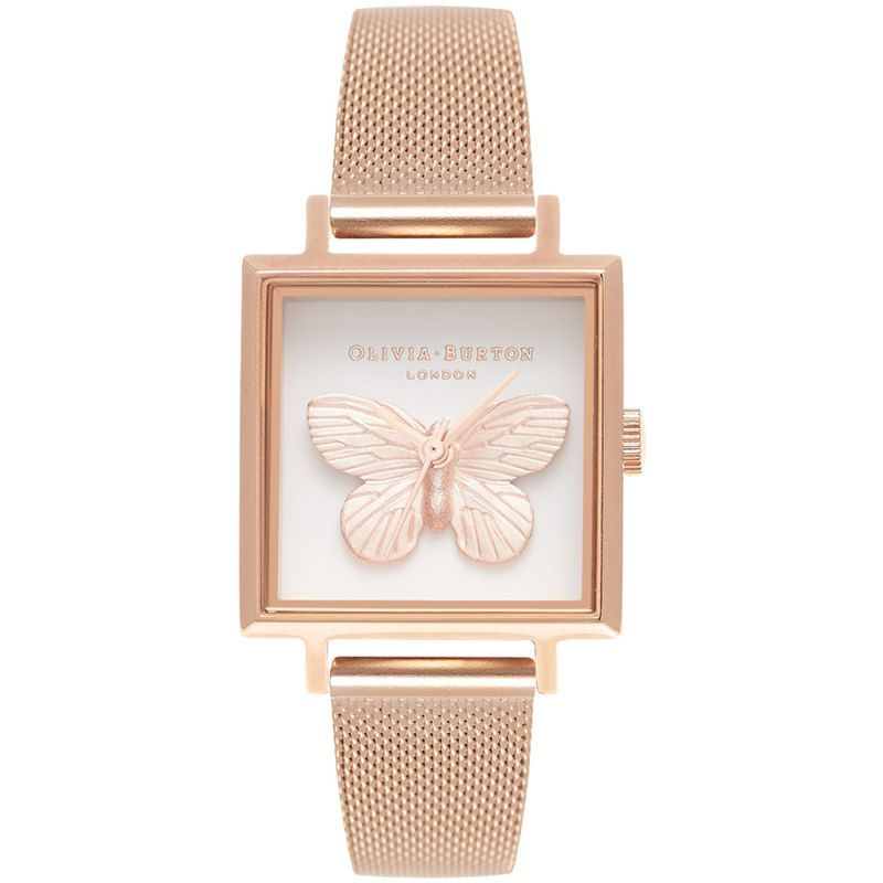 3D Butterfly Midi Square & Rose Gold Watch