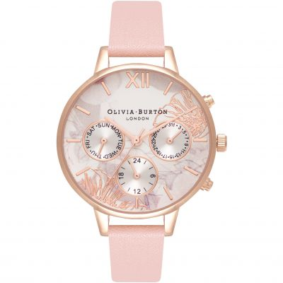Montre Femme Olivia Burton Abstract Florals Silver & Dusty Pink OB16CGS07