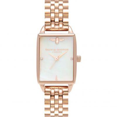 Bee Hive White Mother Of Pearl Rose Gold Bracelet Watch