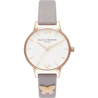 Embellished Butterfly Strap Midi Dial Grey Lilac & Rose Gold Watch