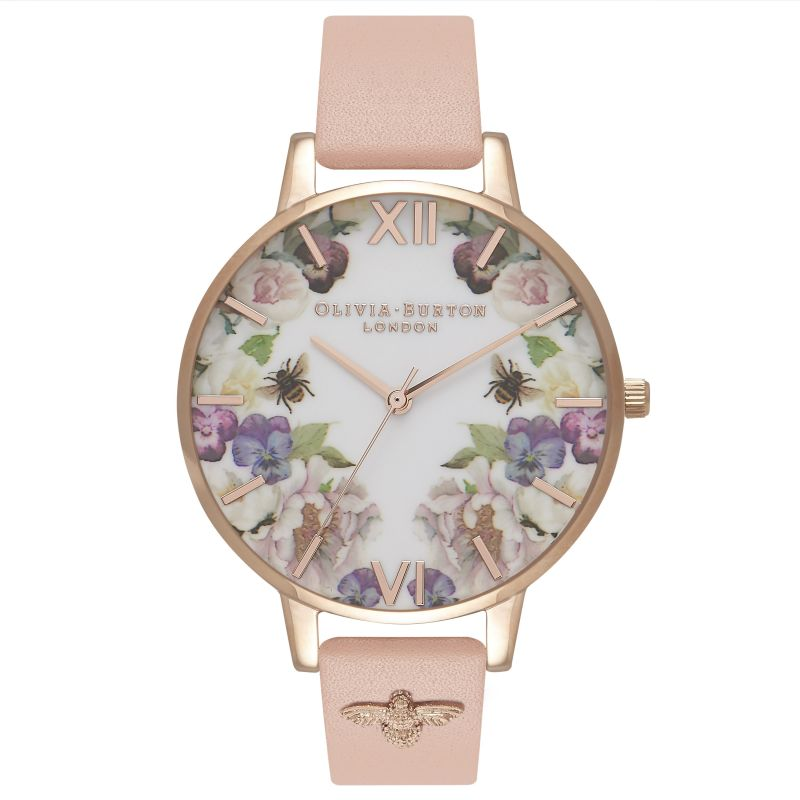 Embellished Enchanted Garden Dusty Pink & Rose Gold Watch