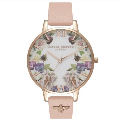 Olivia Burton Enchanted Garden Enchanted Garden Gold & Dusty Pink Emb Damenuhr in Pink OB16EG111