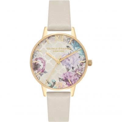 Glasshouse Nude Floral & Gold Watch