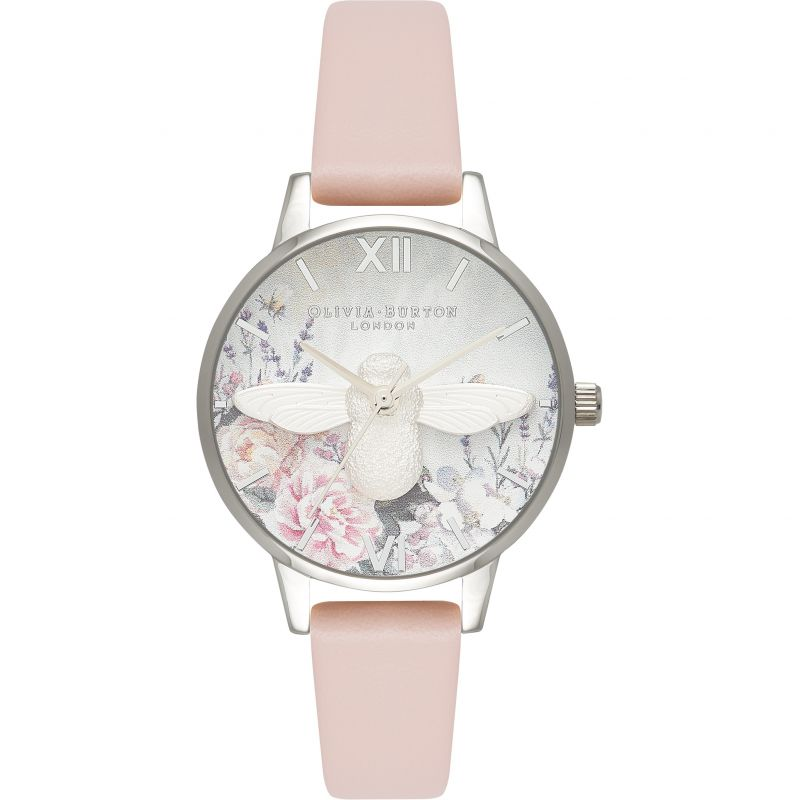 Glasshouse Silver Bee & Nude Peach Watch