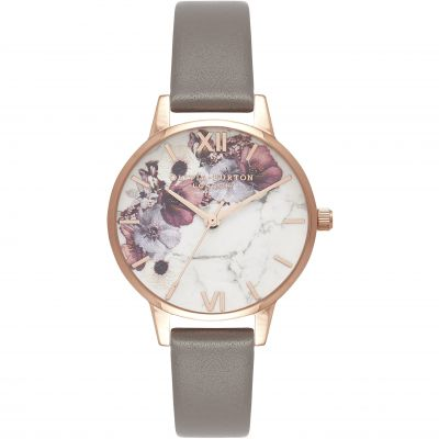 Marble Florals Rose Gold & London Grey Watch