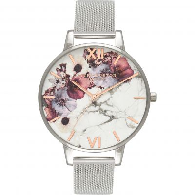 Olivia Burton Marble Florals Marble Florals Rose Gold & Silver Damenuhr in Silber OB16MF09