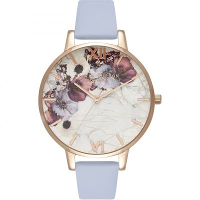 Marble Florals Rose Gold & Chalk Blue Watch