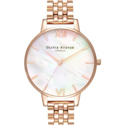 Montre Femme Olivia Burton Mother Of Pearl Bracelet Silver & Rose Gold OB16MOP03