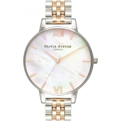 Olivia Burton Mother Of Pearl Bracelet Mother Of Pearl Bracelet Silver & Rose Gold And Silver Damenuhr in Zweifarbig OB16MOP06