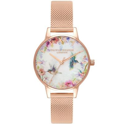 Painterly Prints Mother Of Pearl Rose Gold Mesh Watch