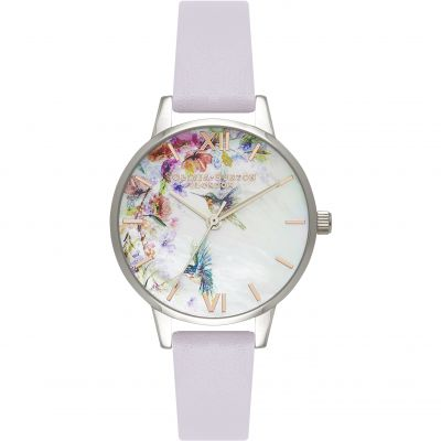 Painterly Prints Mother Of Pearl Parma Violet & Silver Watch