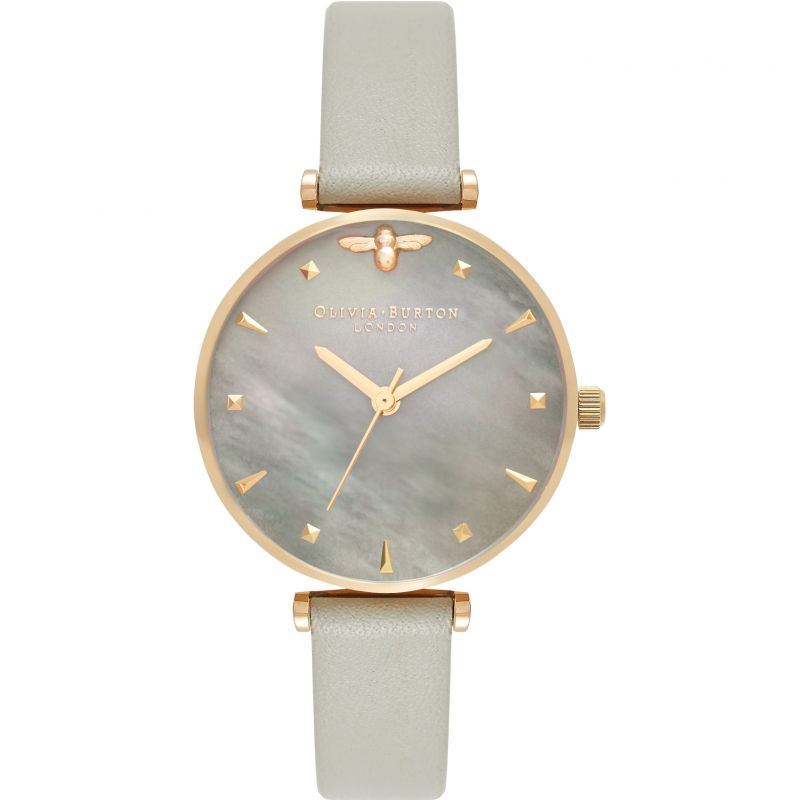 Queen Bee Grey Mother Of Pearl Steel Grey & Gold Watch