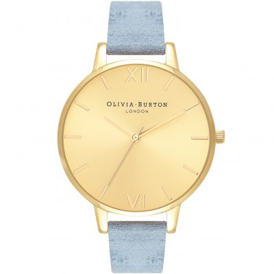 Sunray Dial Gold & Chalk Blue Suede Watch