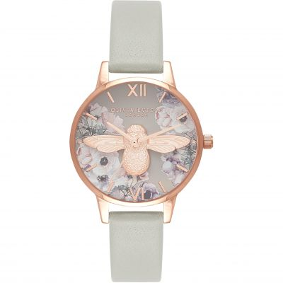 Watercolour Florals Grey & Rose Gold Watch