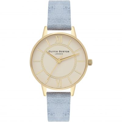 Wonderland Gold  & Chalk Blue Suede Watch
