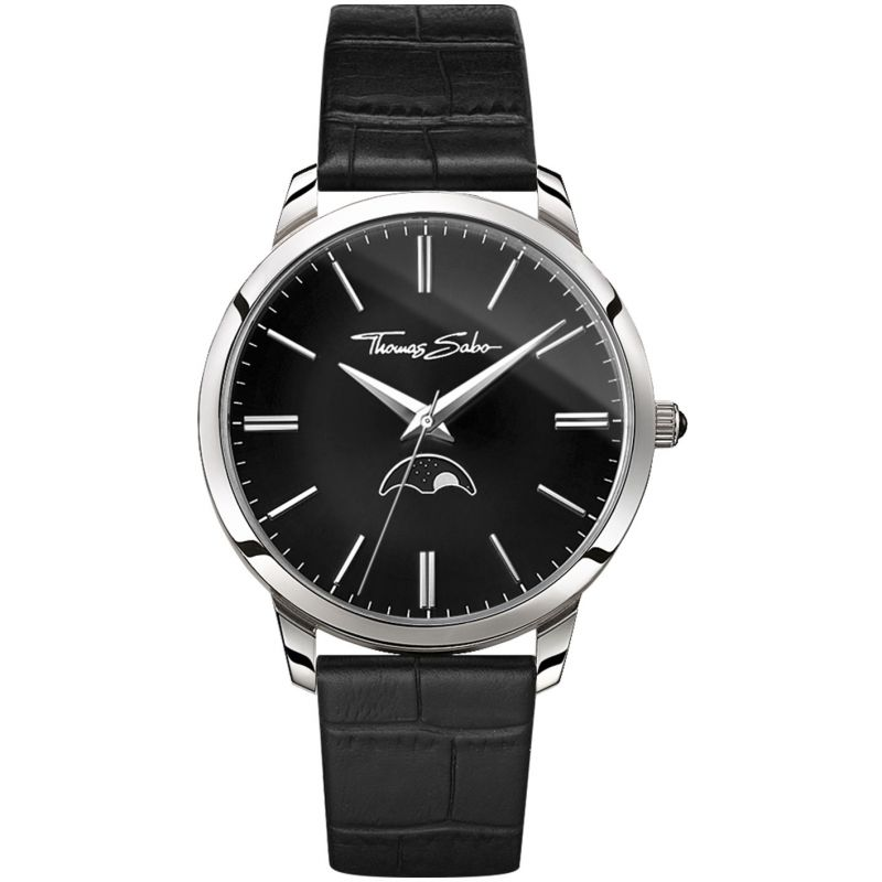 Spirit Moonphase Movement Black Leather Men's Watch