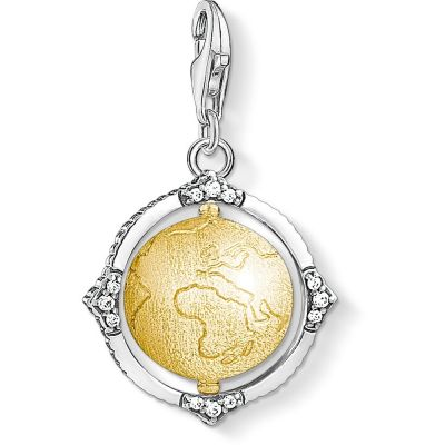Ladies Thomas Sabo Sterling Silver Charm Club Globe Charm 1711-849-39