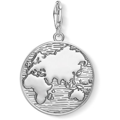 Ladies Thomas Sabo Sterling Silver Charm Club Globe Charm 1713-637-21
