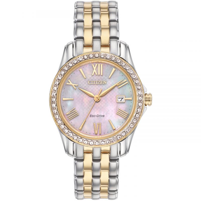 Ladies Citizen Eco-drive Ladies Crystal Case Wr100 Stainless Steel Watch EW1908-59N