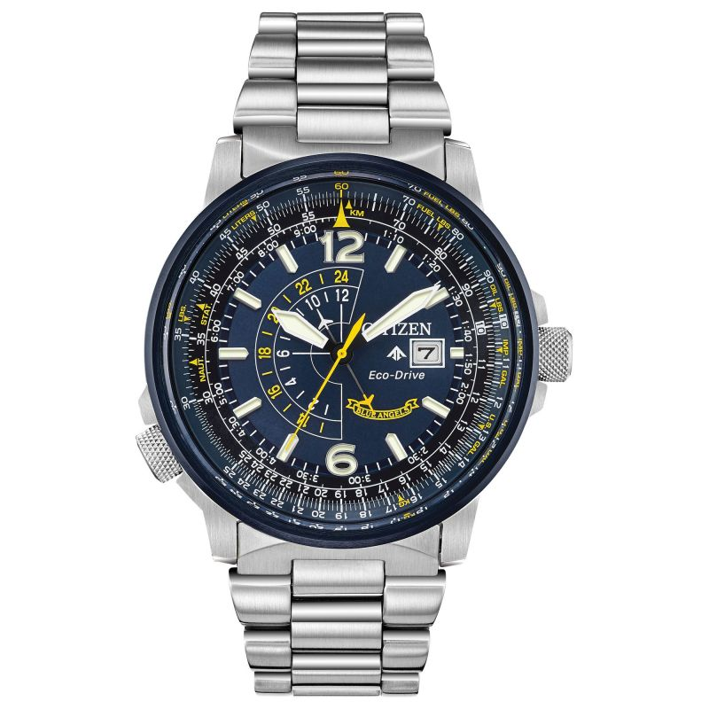 Mens Citizen Eco-drive Gents Blue Angels Bracelet Stainless Steel Watch BJ7006-56L