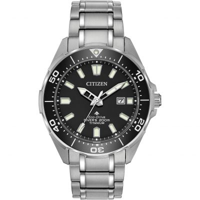 Mens Citizen Eco-drive Titanium Promaster Diver Stainless Steel Watch BN0200-56E