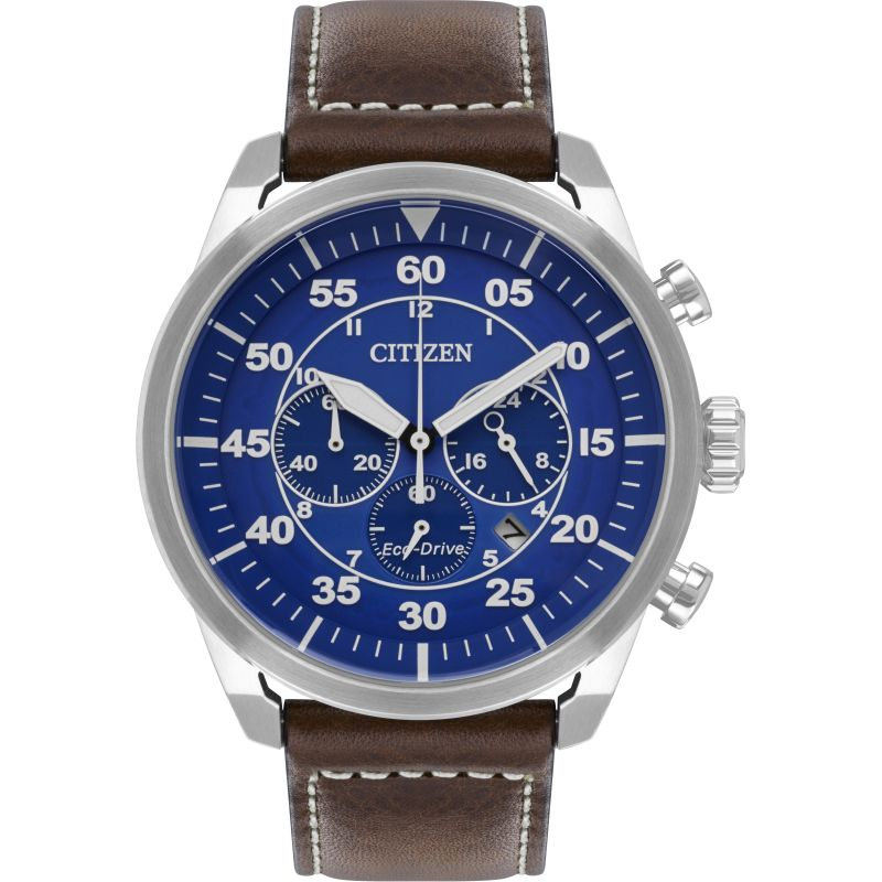 Mens Citizen Eco-drive Sport Strap Wr100 Chronograph Stainless Steel Watch CA4210-41L