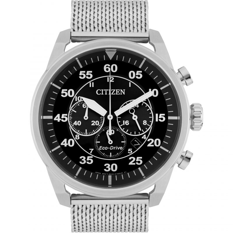 Mens Citizen Eco-drive Sport Bracelet Chronograph Stainless Steel Watch CA4210-59E