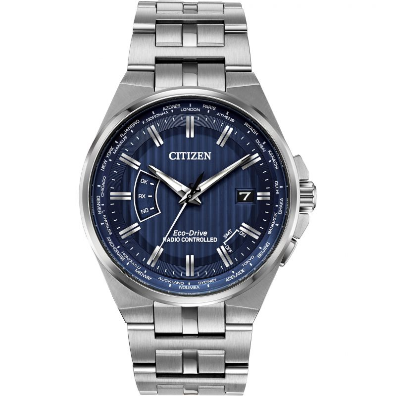 Mens Citizen Eco-drive World Perpetual A.T Radio Controlled Stainless Steel Watch CB0160-51L