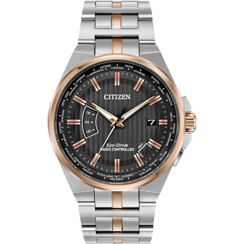 Mens Citizen Eco-drive World Perpetual A.T Radio Controlled Stainless Steel Watch CB0166-54H