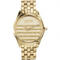 Jean Paul Gaultier Navy Ladies Watch featuring a Gold Strap and Gold Dial JP8502405