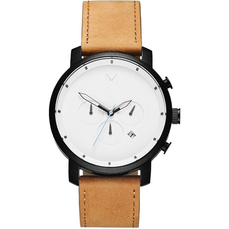 MVMT White Black Tan Chrono Watch