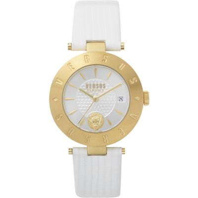 Ladies Versus Logo Silver Dial On A White Leather Strap Watch