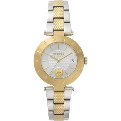 Ladies Versus Logo Silver Dial On Two Tone Bracelet Watch