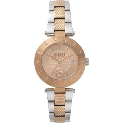 Ladies Versus Logo Rose Gold Dial With A Two Tone Bracelet Watch