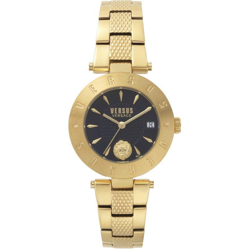 Ladies Versus Logo Blue Dial Stainless Steel Bracelet Watch