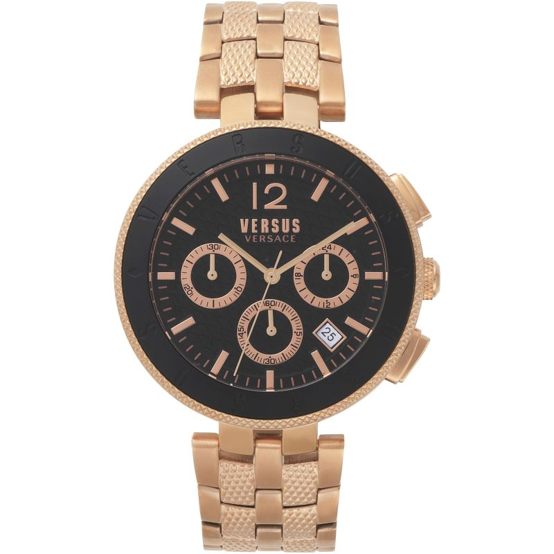 Gents Versus Logo Black Dial Bracelet Watch
