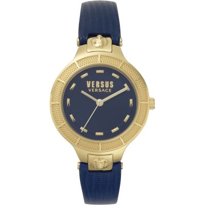 Montre Femme Versus Versace Claremont Blue Dial On A Leather Strap Watch VSP480218