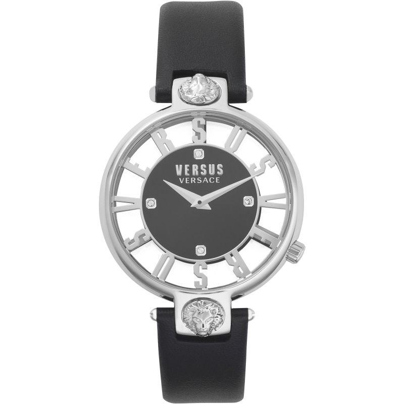 Ladies Versus Kirstenhof Black Dial On A Black Leather Strap Watch