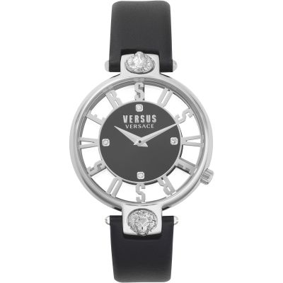 Montre Femme Versus Versace Kirstenhof Black Dial On A Black Leather Strap Watch VSP490118