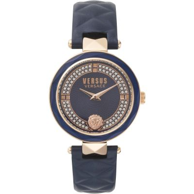 Montre Femme Versus Versace Covent Garden Blue Dial On A Leather Strap Watch VSPCD2817