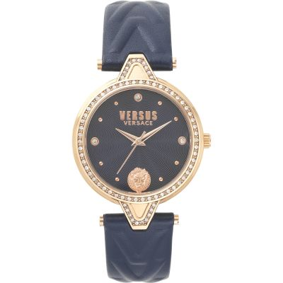 Montre Femme Versus Versace Crystal Blue Dial On A Blue Leather Strap Watch VSPCI3417