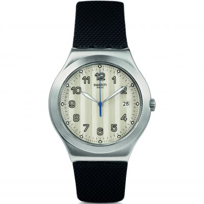 Swatch Happy Joe Rugged Côtes Silver Herrenuhr in Schwarz YWS437