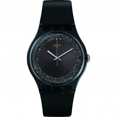 Swatch Think Fun Darksparkles Damenuhr in Schwarz SUOB156