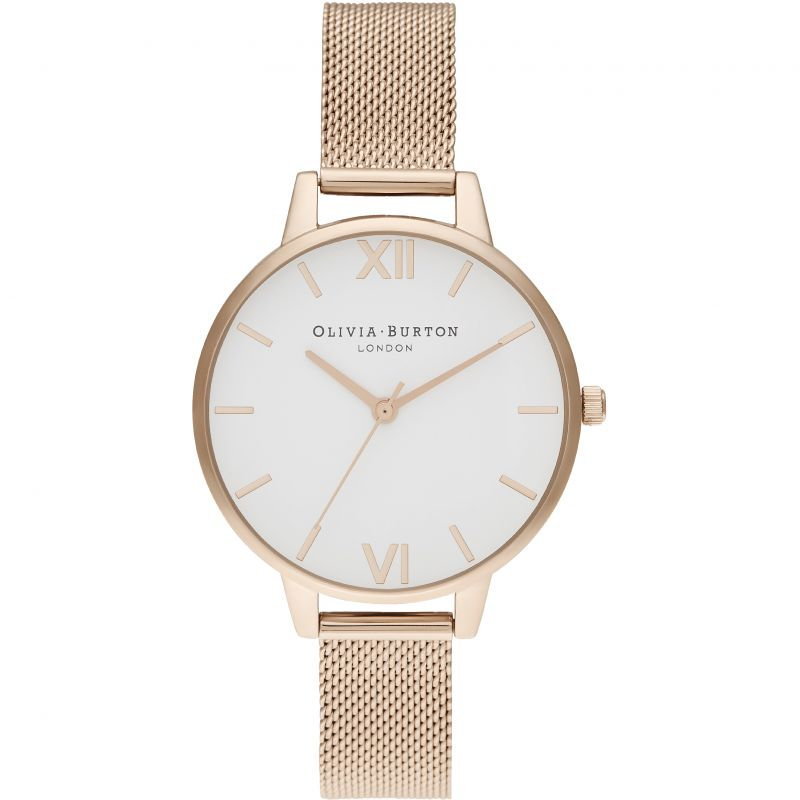 Demi White Dial Pale Rg Mesh Watch